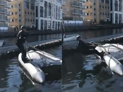 Marine police recruit's attempt to right capsized boat goes hilariously wrong