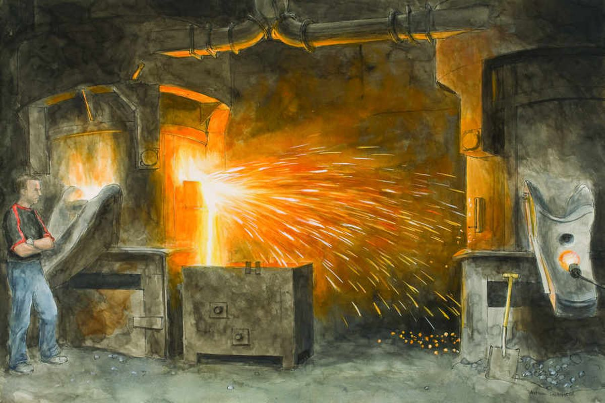 A watercolour by Arthur Lockwood at Cradley Castings Ltd. Draining slag from the furnace