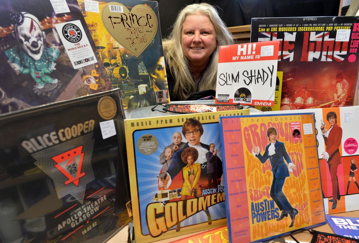 Clare Howell at Vinyl & Vintage with new stock for the third and final day of Record Store Day