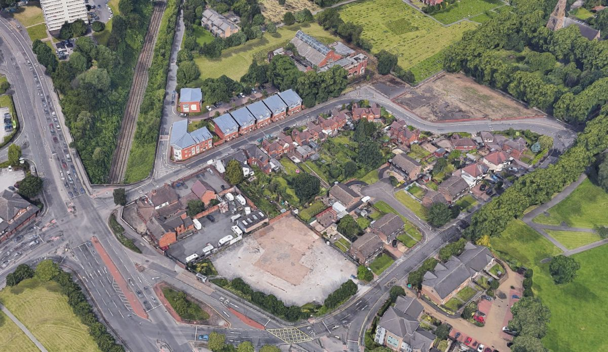 An aerial view showing Tudor Road in Heath Town, Wolverhampton. Photo: Google