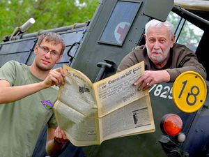 Mick Price, 67, and son Richard Price, 23, in a Scammell Pioneer 1943 with their copy of the Express & Star