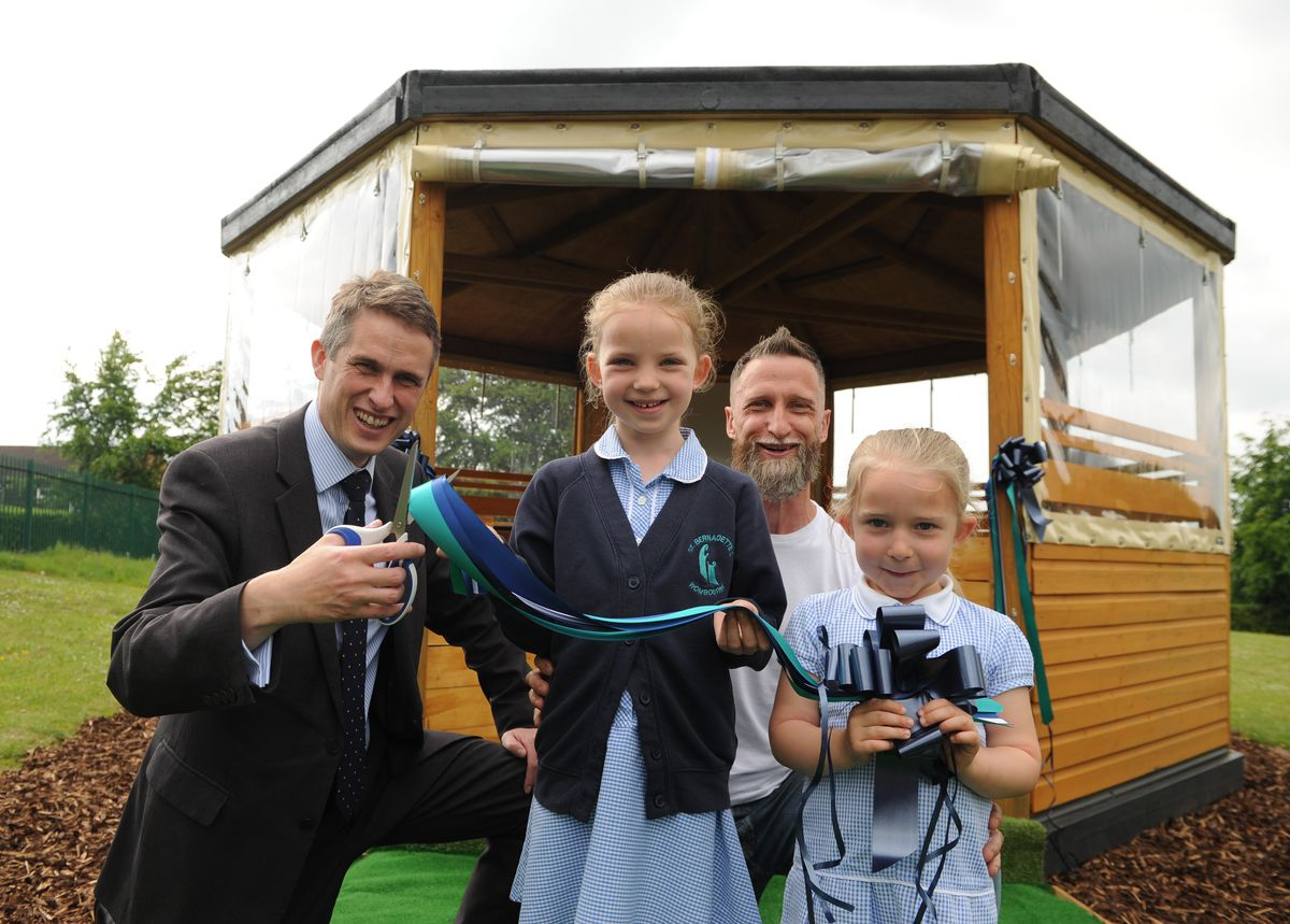 Gavin Williamson opens St Bernadette's primary school gazebo