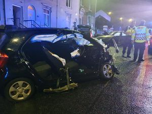 The crash on Shaw Road in Dudley, that resulted in four people going to hospital. Photo: Dudley Fire Station.