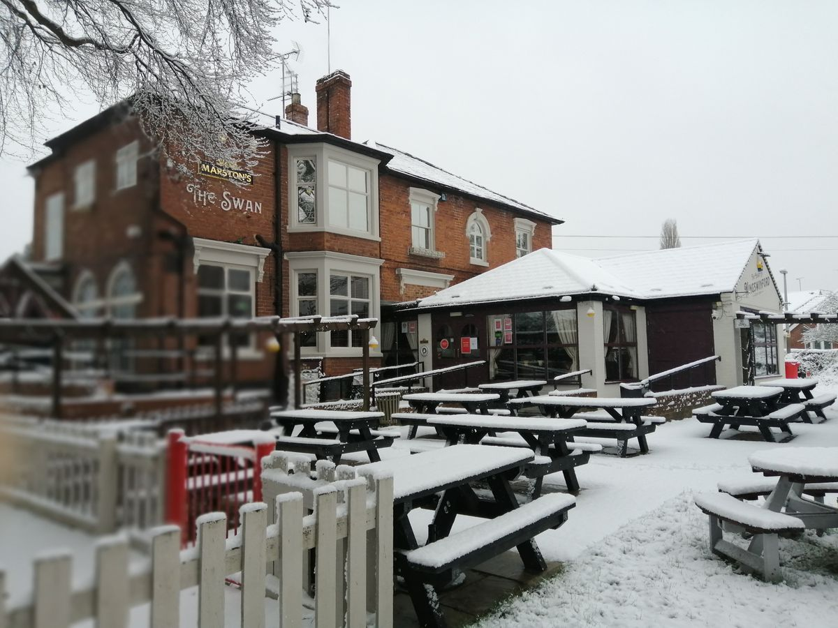 Snow at the Swan in Kingswinford. Photo: Vince O'Sullivan