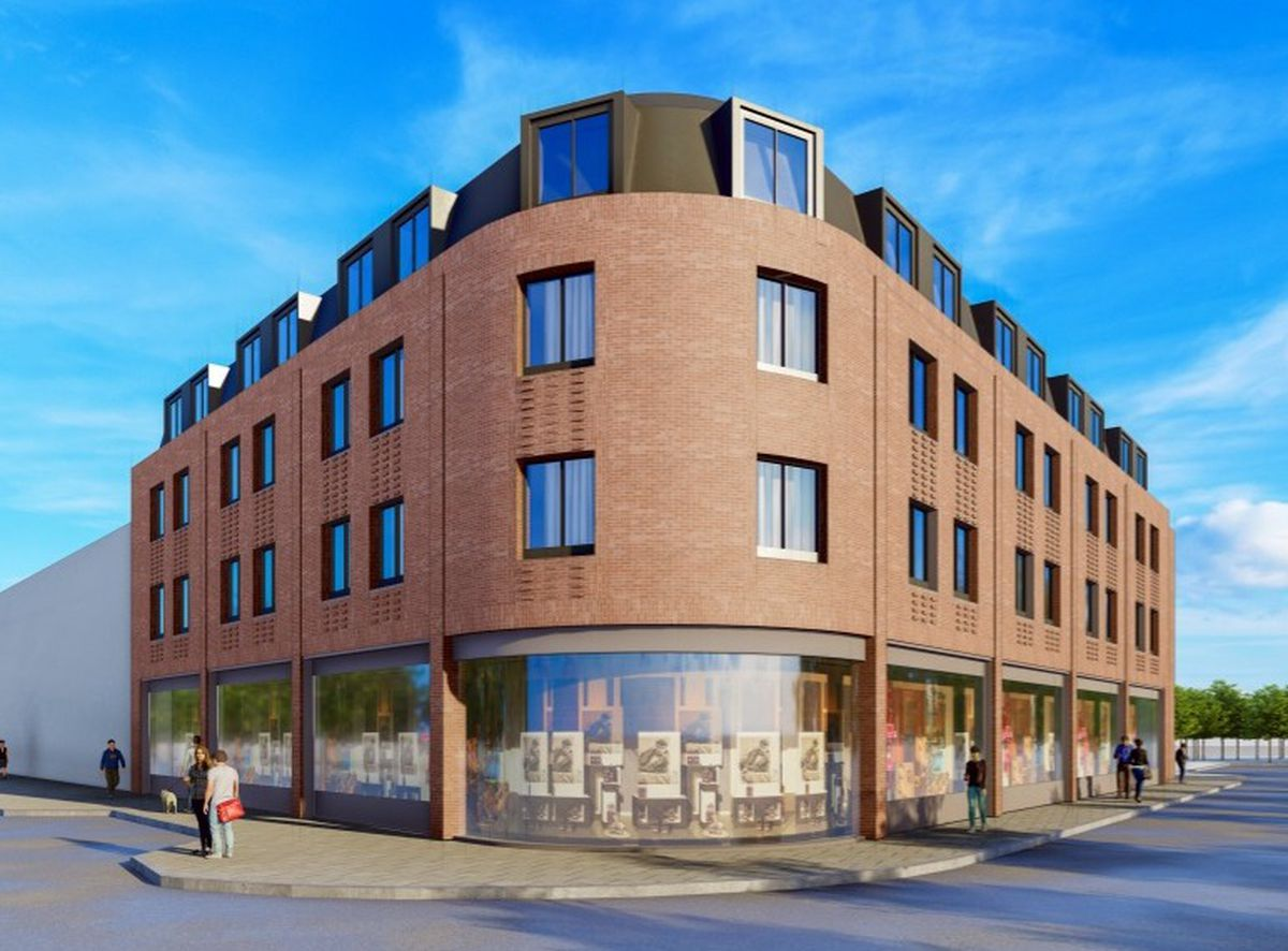 An artist\'s impression of the planned student apartments and retail unit on vacant land on Victoria Street, Wolverhampton. PIC: Corstorphine & Wright