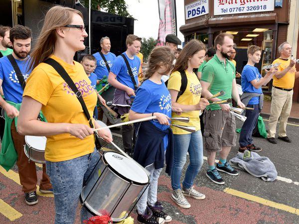 Poco Louco Samba Drummers in High Street, Cradley Heath