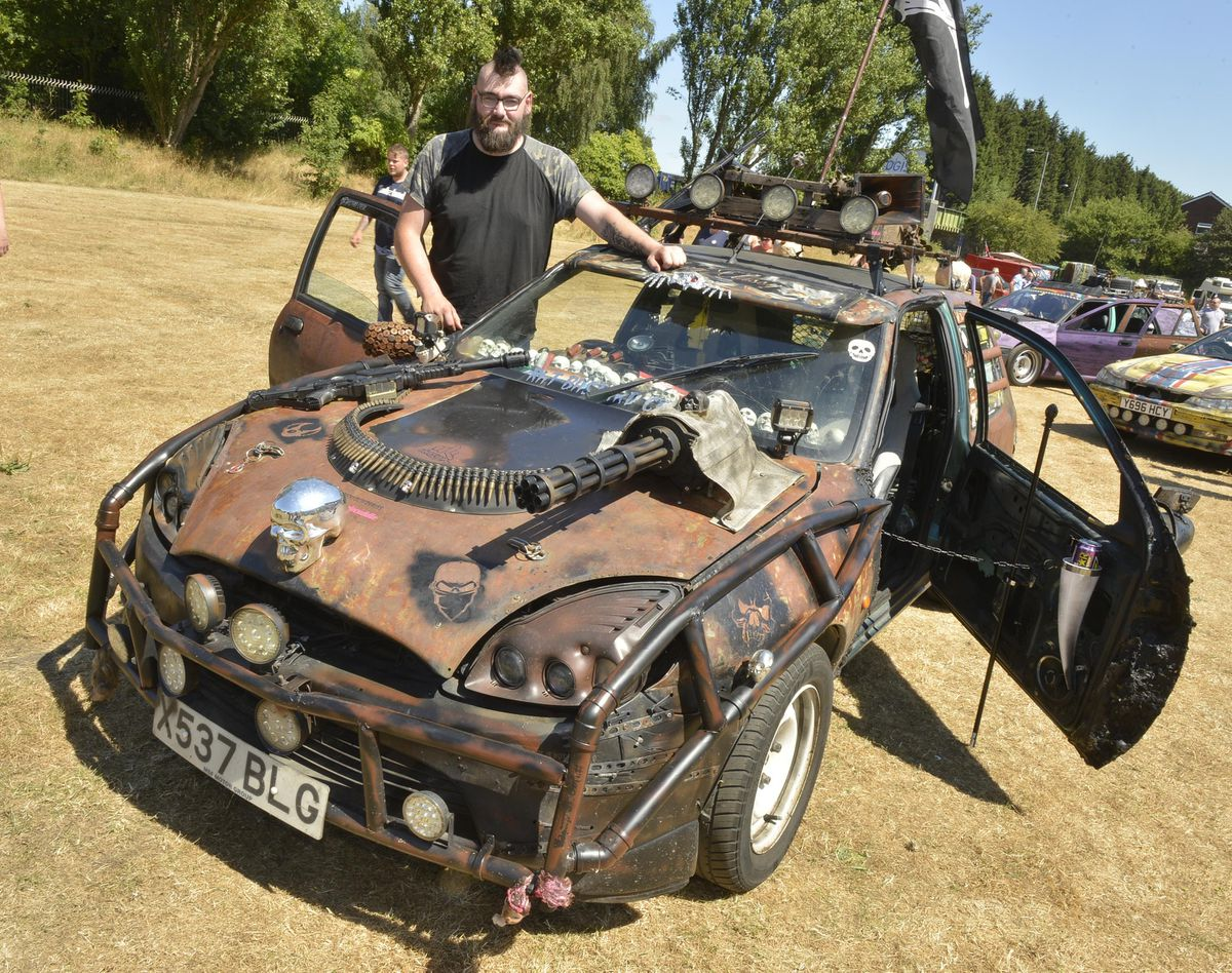 Daniel Lewis from Walsall with his Abomination car at the Willenhall Transport Show, Willenhall Memorial Park, Pinson Road, Willenhall