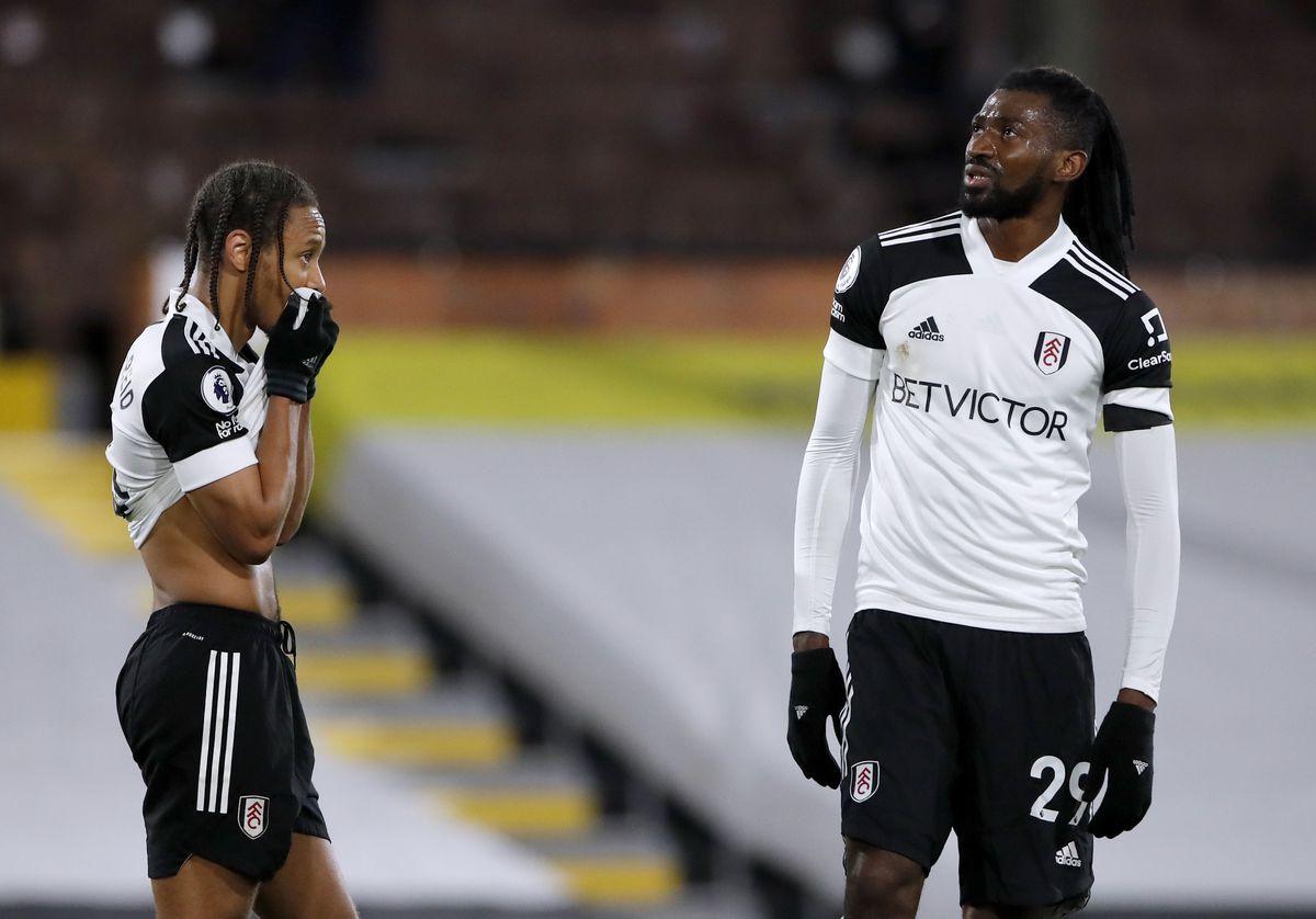 Fulham's Andre-Frank Zambo Anguissa (right) and Bobby Decordova-Reid appear dejected