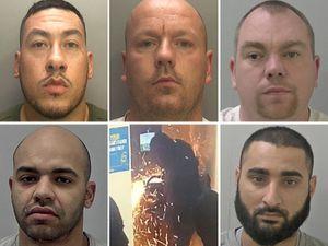 Clockwise from top left: Michael Stubbs, Noel Reilly, Martin Steadman, Mahneer Khan, one of the raids and Marcus Burton