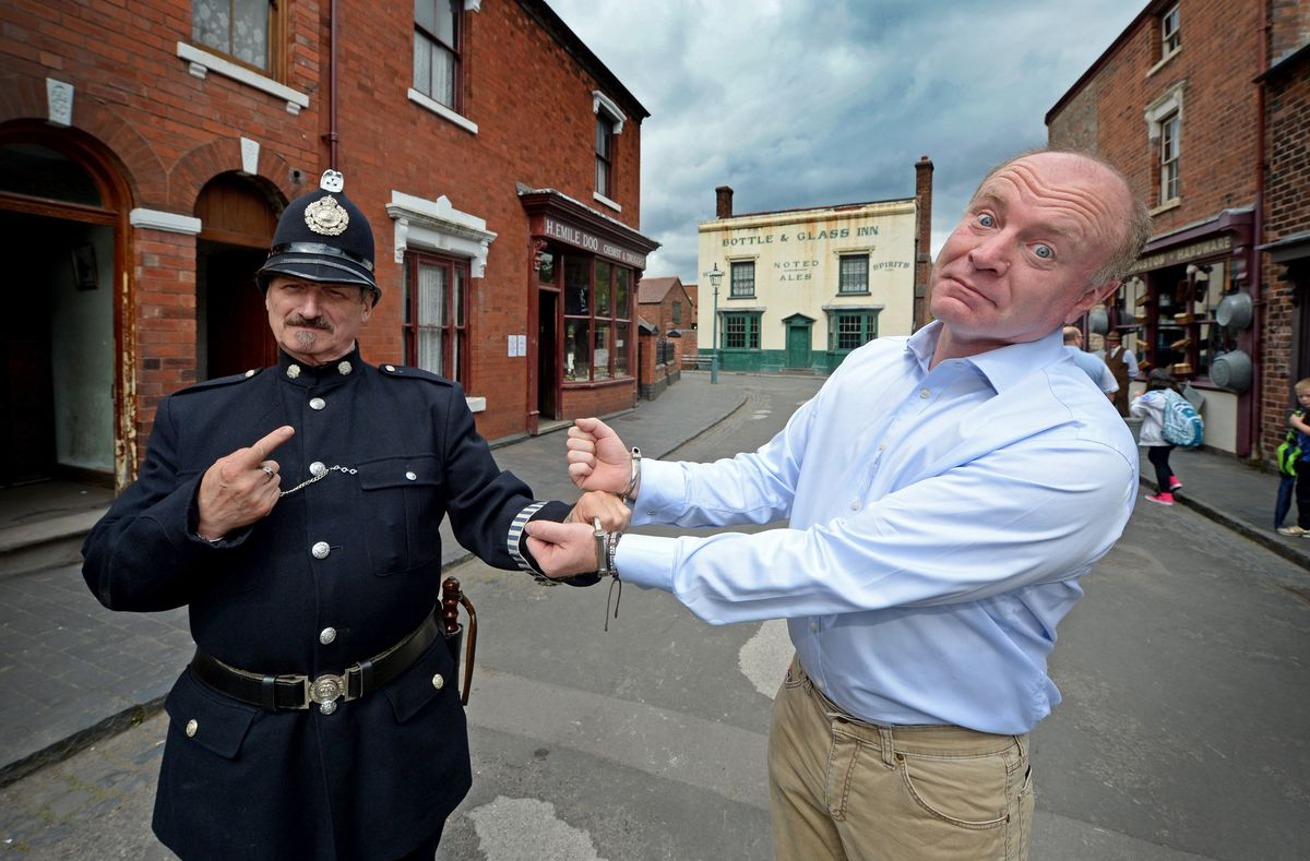 Dudley North MP Marco Longhi is 'arrested' during his visit to the museum