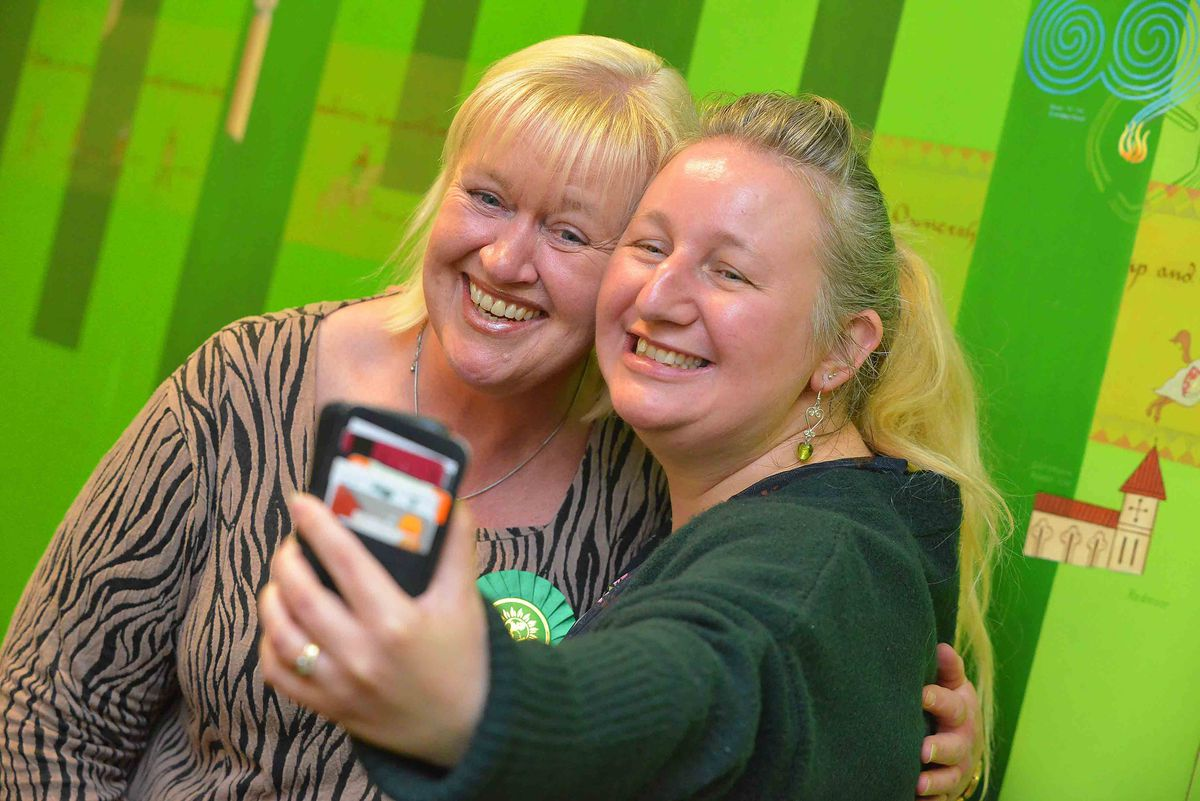Delighted new Green councillors Mandy Dunnett and Andrea Muckley