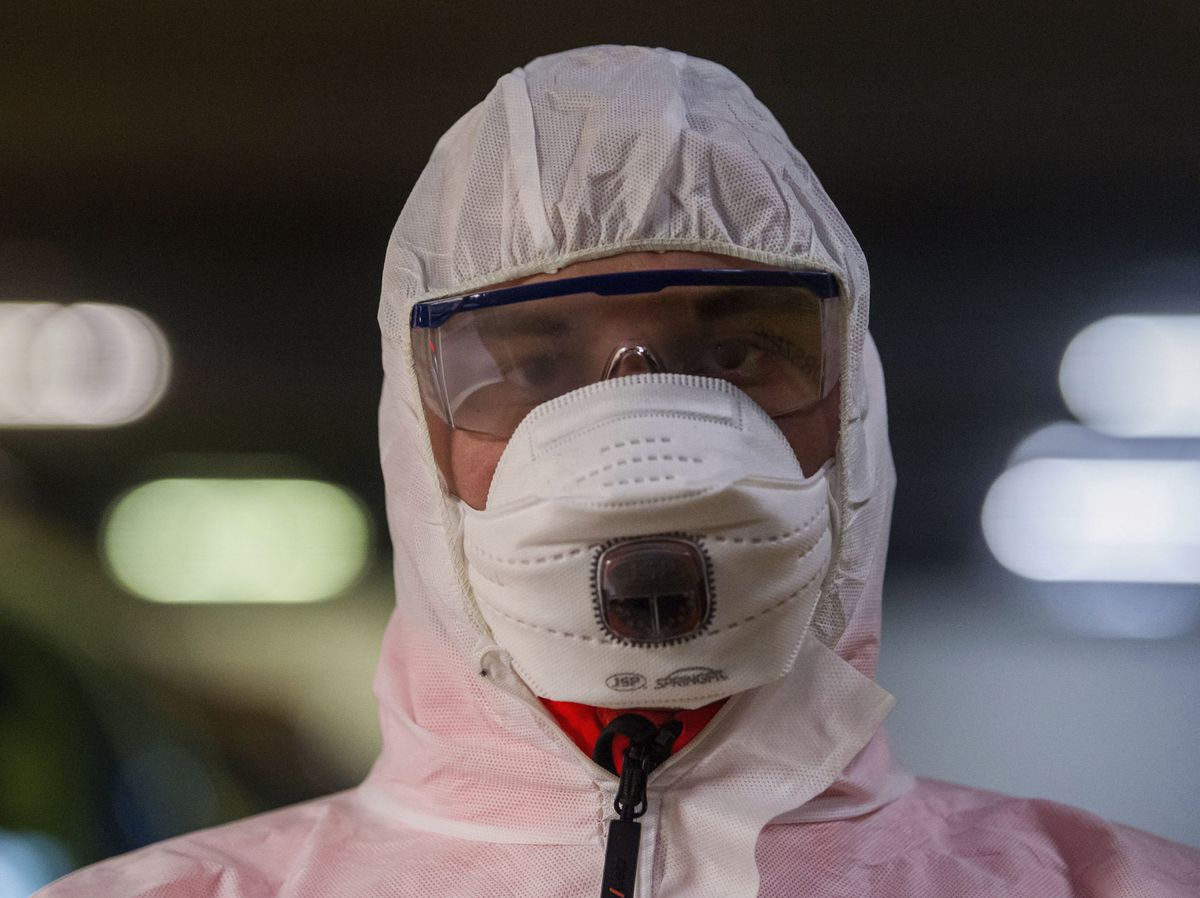 A health worker wears a protective mask during the coronavirus outbreak