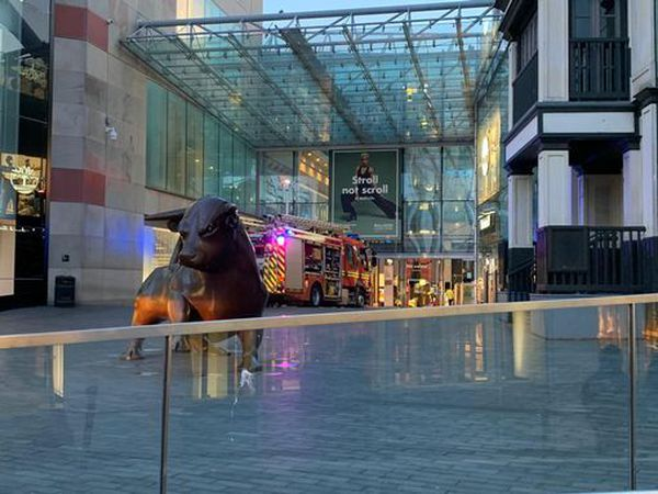 Fire crews worked to put out the fire at the Bull Ring in Birmingham
