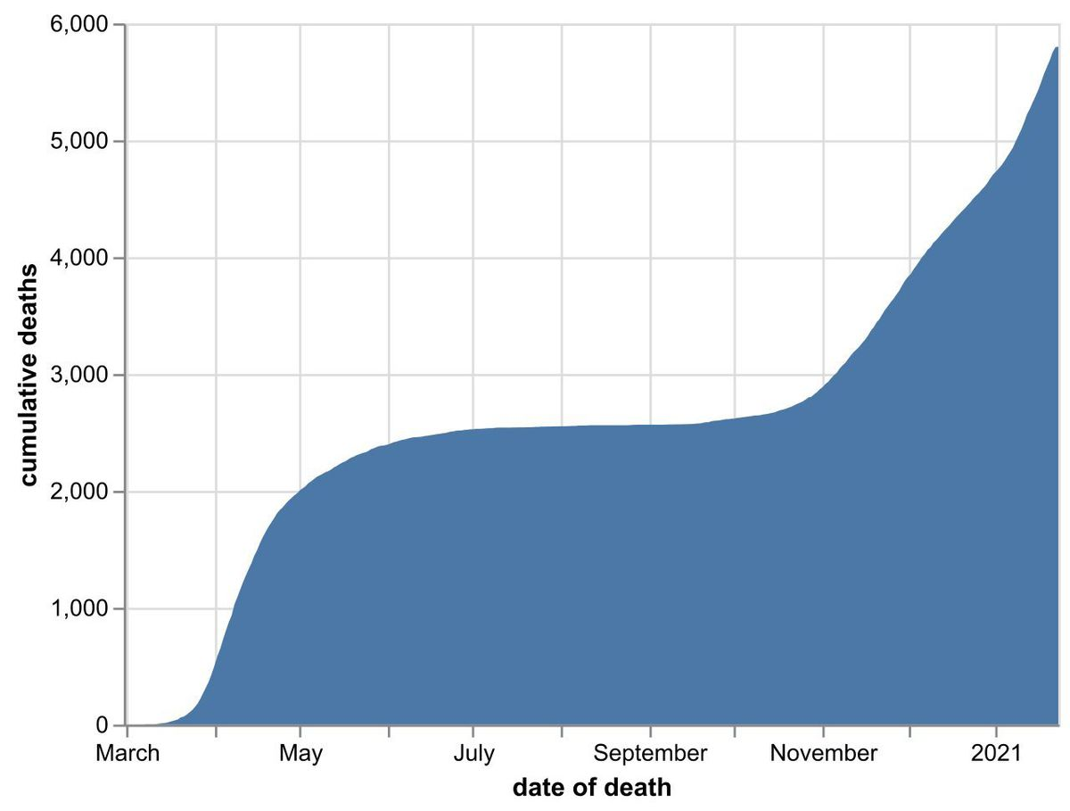 The cumulative number of hospital coronavirus deaths, by NHS trust, in the Black Country, Birmingham and Staffordshire as of January 24. By date of death, not the date the death was announced. Data: NHS England