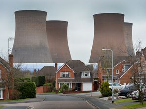 The Rugeley Power Station cooling towers seen from Thorn Close