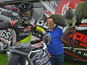 Josh Morris, from Bolddog FMX, and Charlotte Hill,  from CJ's birds of prey, at Walsall Town Show