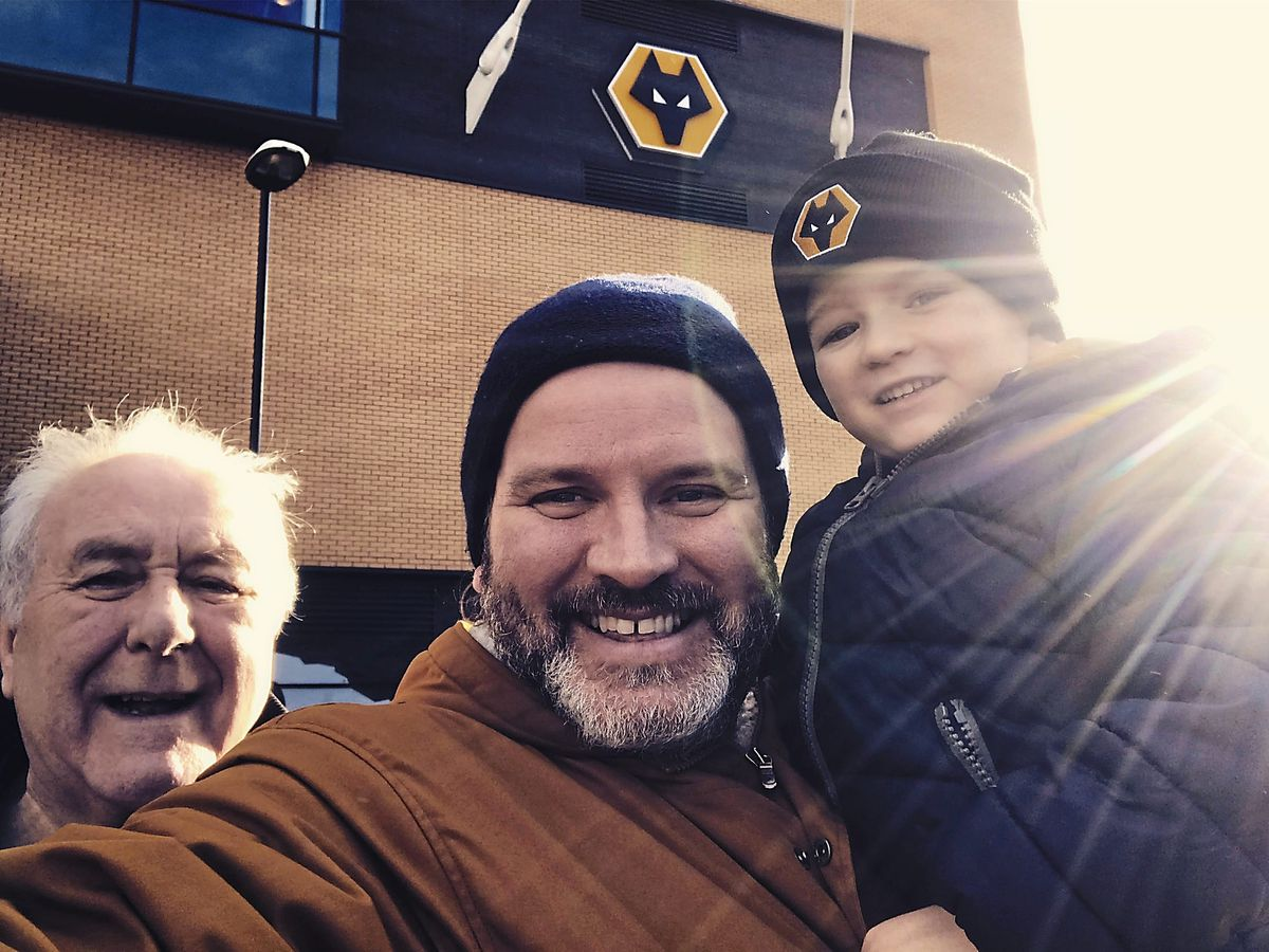 Paul Turley with father Neville, aged 77, and son Leonhard, four, outside Molineux