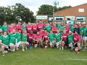 Sutton Coldfield RFC and Stourbridge players at the 100th anniversary of the Royal Town club