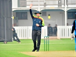Shantry getting a view from the umpire's side