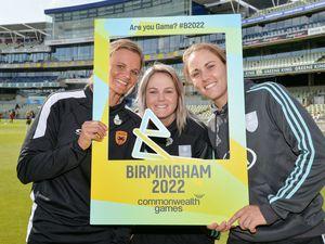 Cricketers Suzie Bates, Dane Van Niekerk and Nat Sciver at the Birmingham 2022 Games announcement at Edgbaston