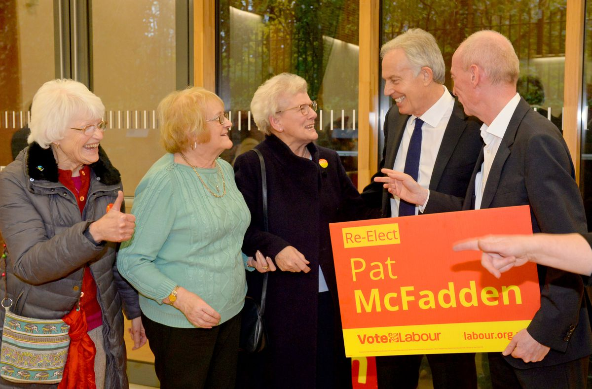 Mr Blair meeting Labour supporters Pat Turner, Mary Davies and Jill Withers