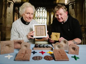 Fred Woods has been making casts of the bullet holes made in walls of St Bartholomew's Church in Tong from during the Civil War, with the help of vicar Pippa Thorneycroft