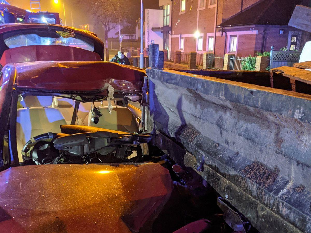 The scene of the crash. Photo: Wolverhampton Fire Station