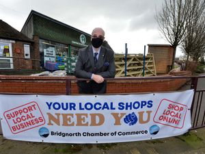 LAST COPYRIGHT SHROPSHIRE STAR STEVE LEATH 08/02/2021..Pic in Bridgnorth Town Centre of Steve Robbins.  Chair of Bridgnorth Chamber & Commerce. Pictured with one of a number of banners they had around the town reminding people that shopping local really does make a difference, at all time but particuarly now. But a large number of the banners have been stolen at a cost to the Chamber and thus traders, to replace them..