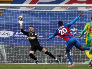 Sam Johnstone of West Bromwich Albion saves from close range shot of Christian Benteke of Crystal Palace.