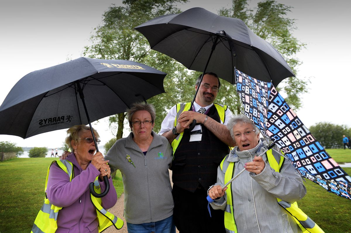 Due to the weather Chasewater Day had to be cancelled. Pictured, the newly formed Chasewater Friends who organised the event. Left, Sheila Ward, Susan Williams, Paul Holland and Susan Woodward