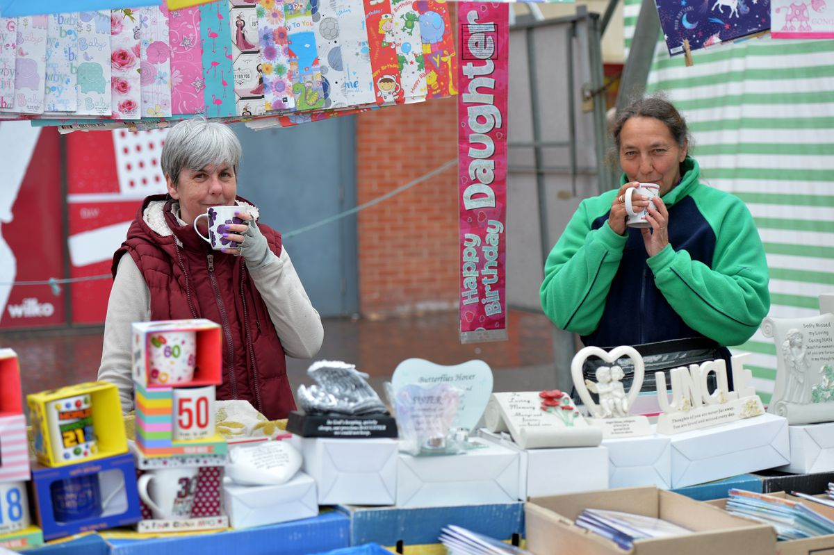 Lorraine Wilkes and Caroline Wilkins enjoy a cuppa Caroline's cards. Lorraine said she and her husband had booked a hotel for their anniversary once the lifting of restrictions had been lifted