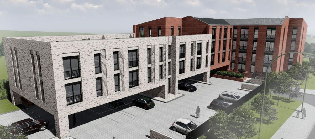 An artist's impression of how the over-55s apartment block could look if built on derelict land in Streetly. Photo: Whittam Cox Architects