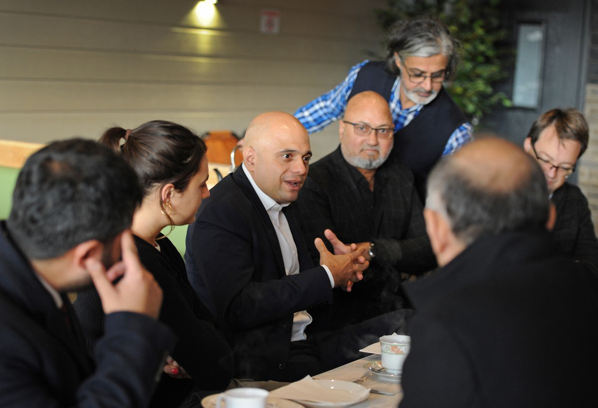 Chancellor Sajid Javid sat down for a bite to eat during a visit to the Red Lion pub
