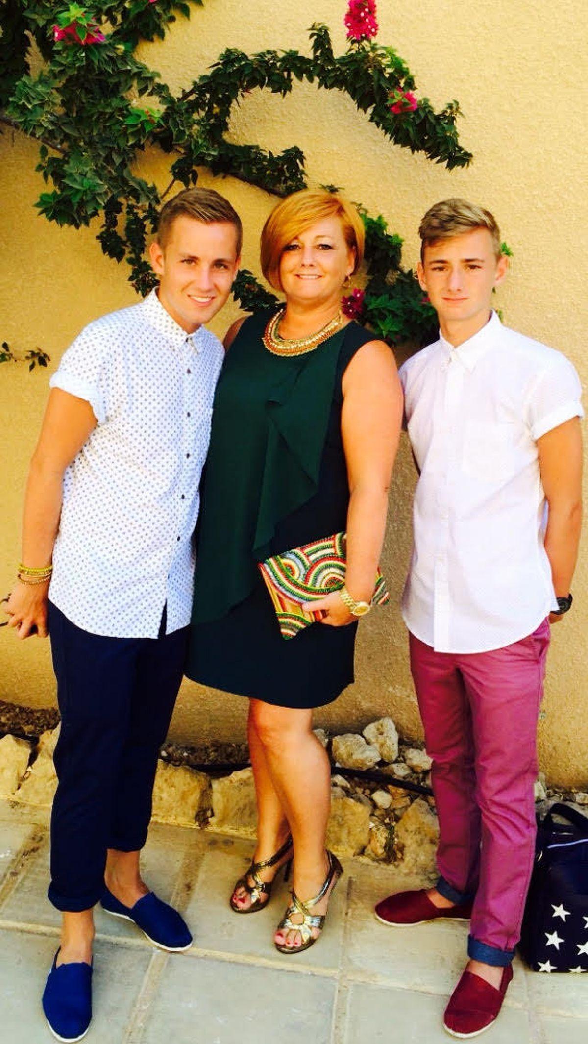 Suzy Evans, with Joel and Owen