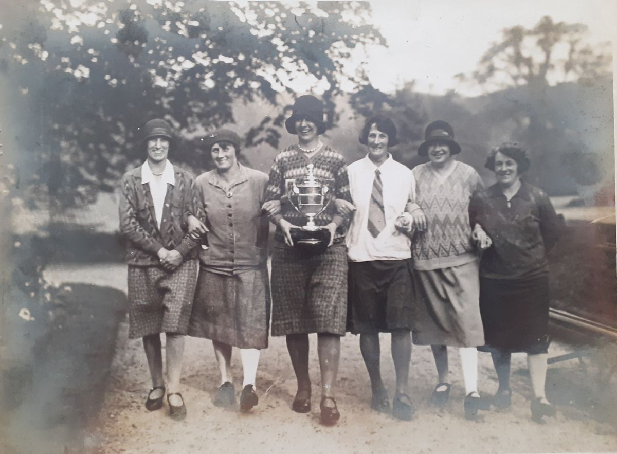 The ladies section take a walk on the course in 1927