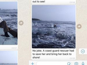 Screen grabs from a Whatsapp conversation showing pictures of a family member sat on some ice in the sea