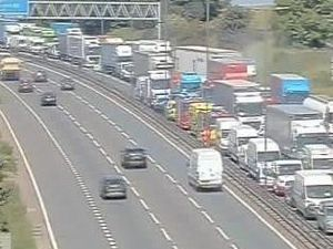 Traffic queueing on the M6. Photo: Traffic England