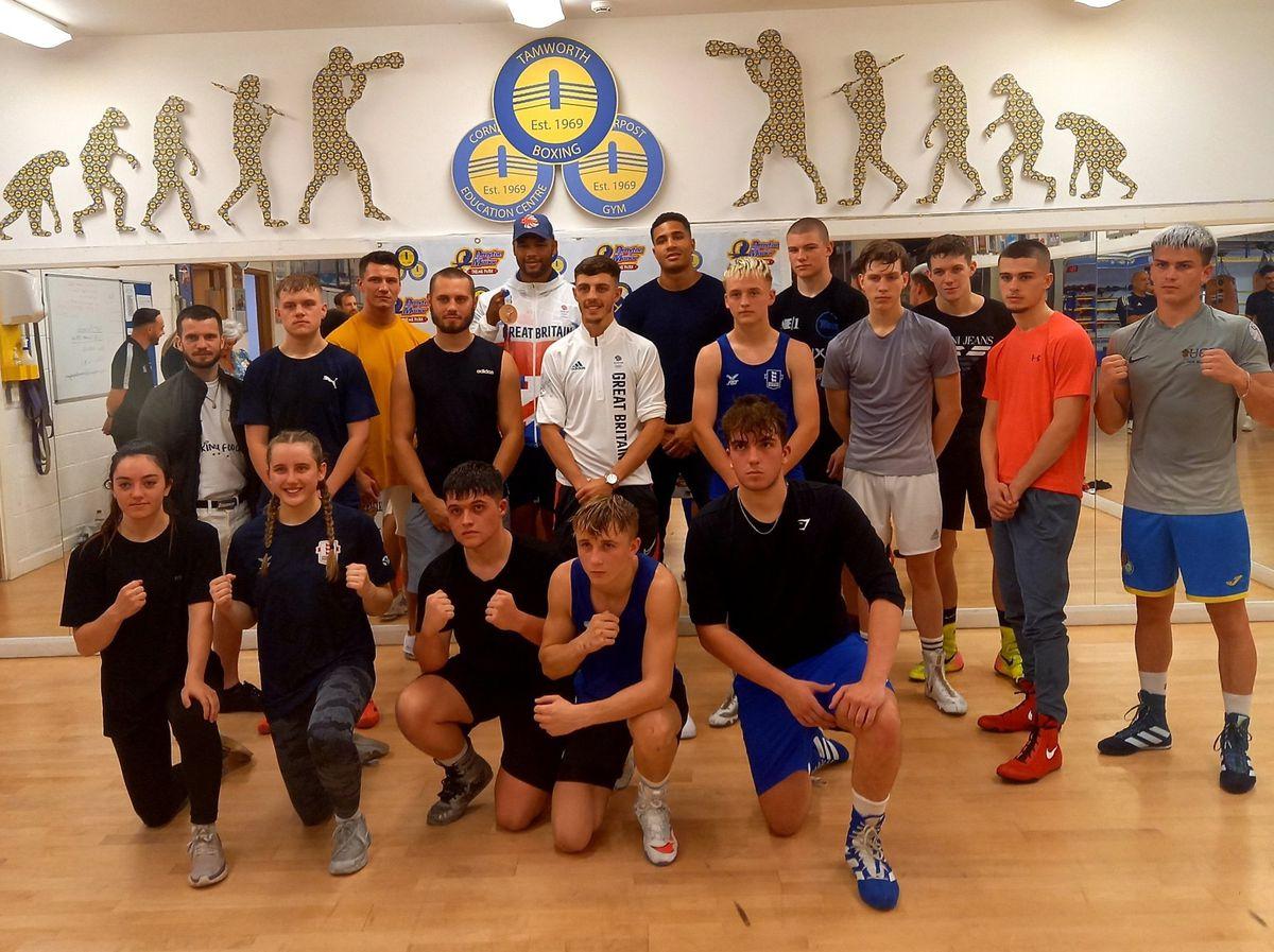 Fraser Clarke met boxers at Tamworth Boxing Club this week