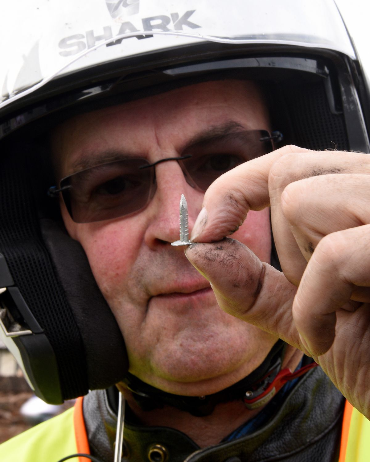 Marshall Dave Coxhead with one of the tacks that were deliberately placed on the route last year