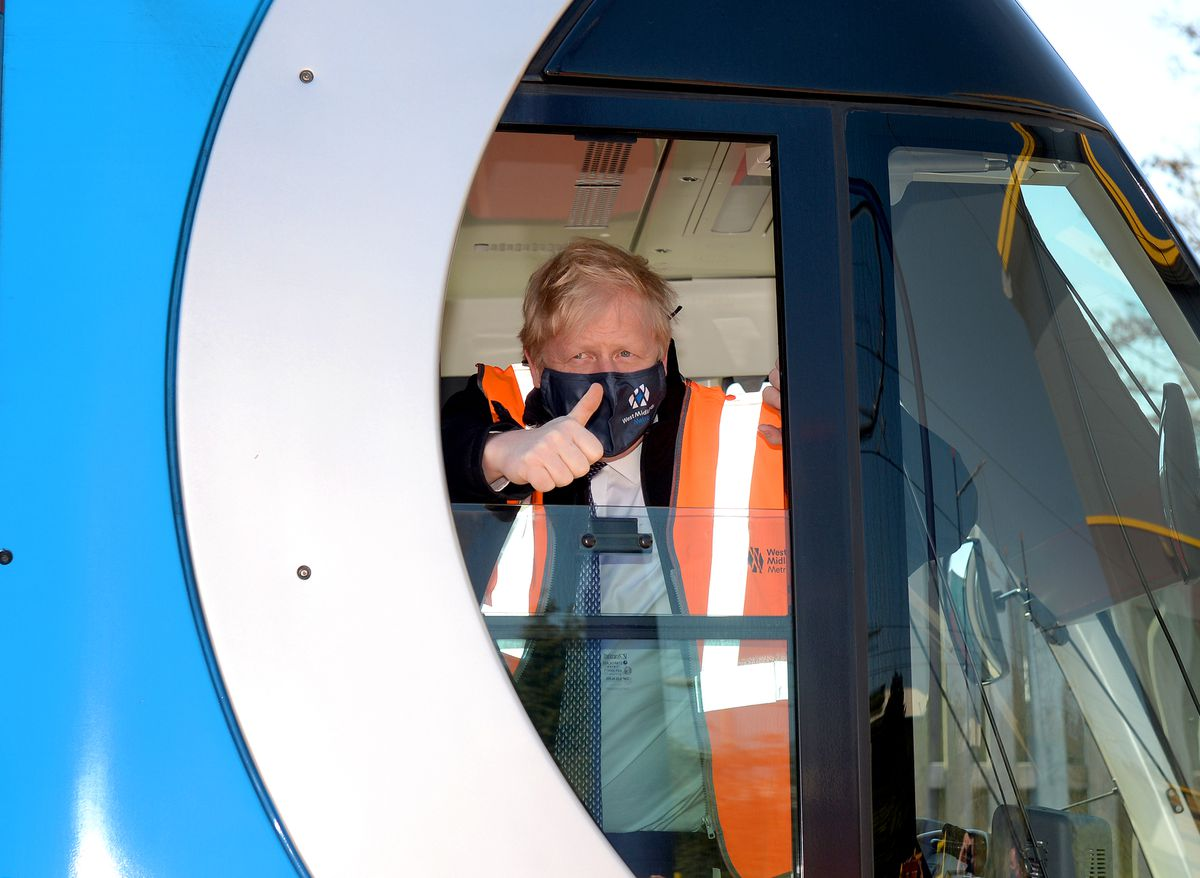 Mr Johnson also went to the West Midlands Metro depot in Wednesbury