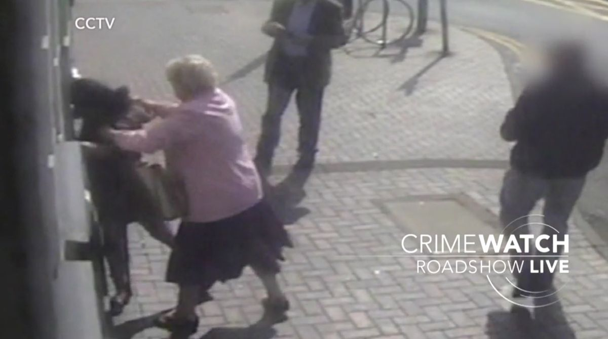 Doreen managed to get her card back and pull her attacker from the cash machine. Photo: BBC Crimewatch Roadshow