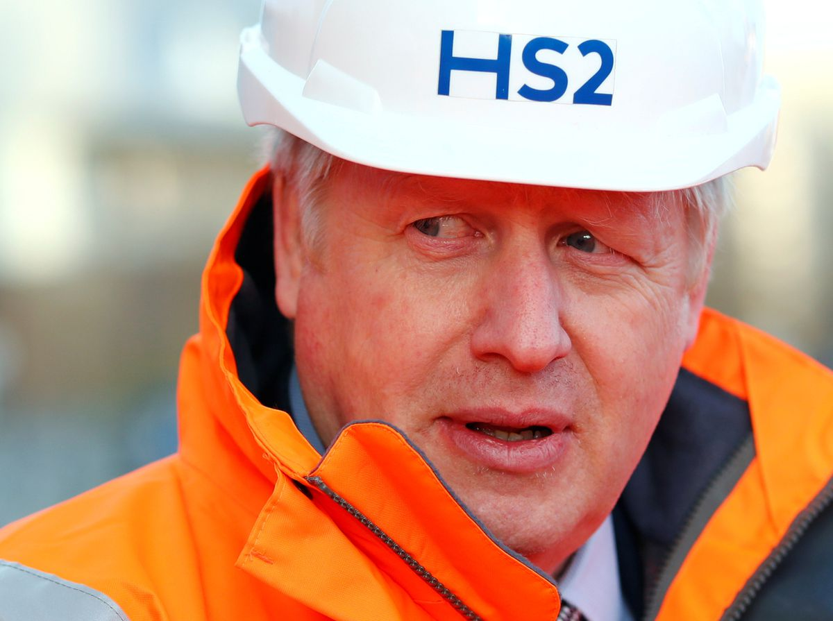 Prime Minister Boris Johnson forged ahead with plans for HS2 during a Curzon Street railway station in Birmingham where the HS2 rail project is under construction