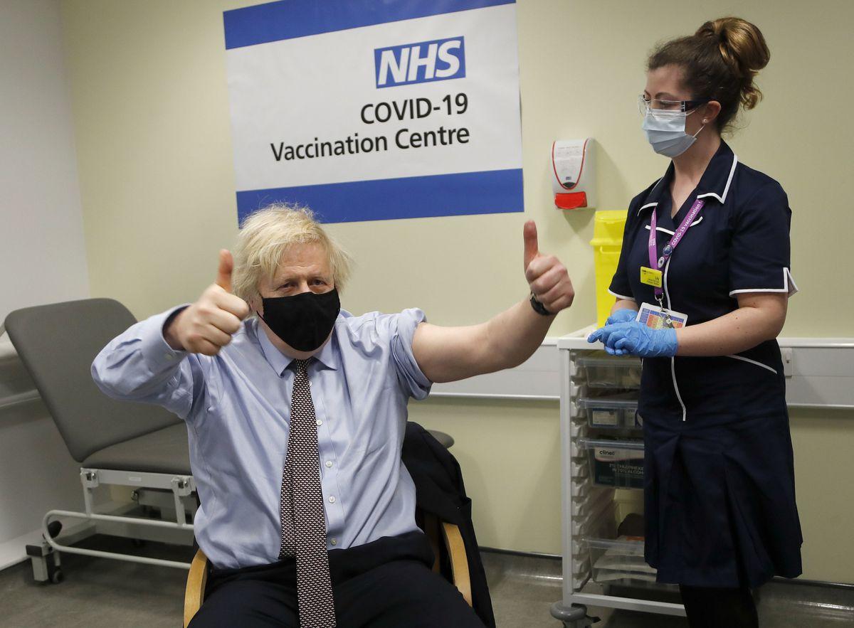 Prime Minister Boris Johnson receives his AstraZeneca jab