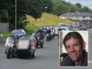 The funeral procession for Carl Woodall, inset, who was killed in Rowley Regis