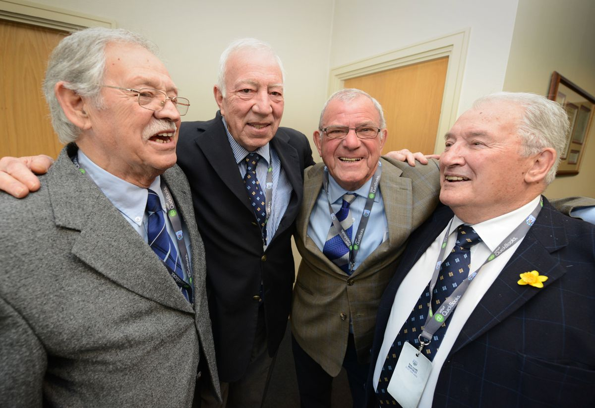 At the Hawthorns during Jeff Astle Day, players from the 1968 team (left-right) Doug Fraser, John Talbut, John Kaye, and Graham Williams