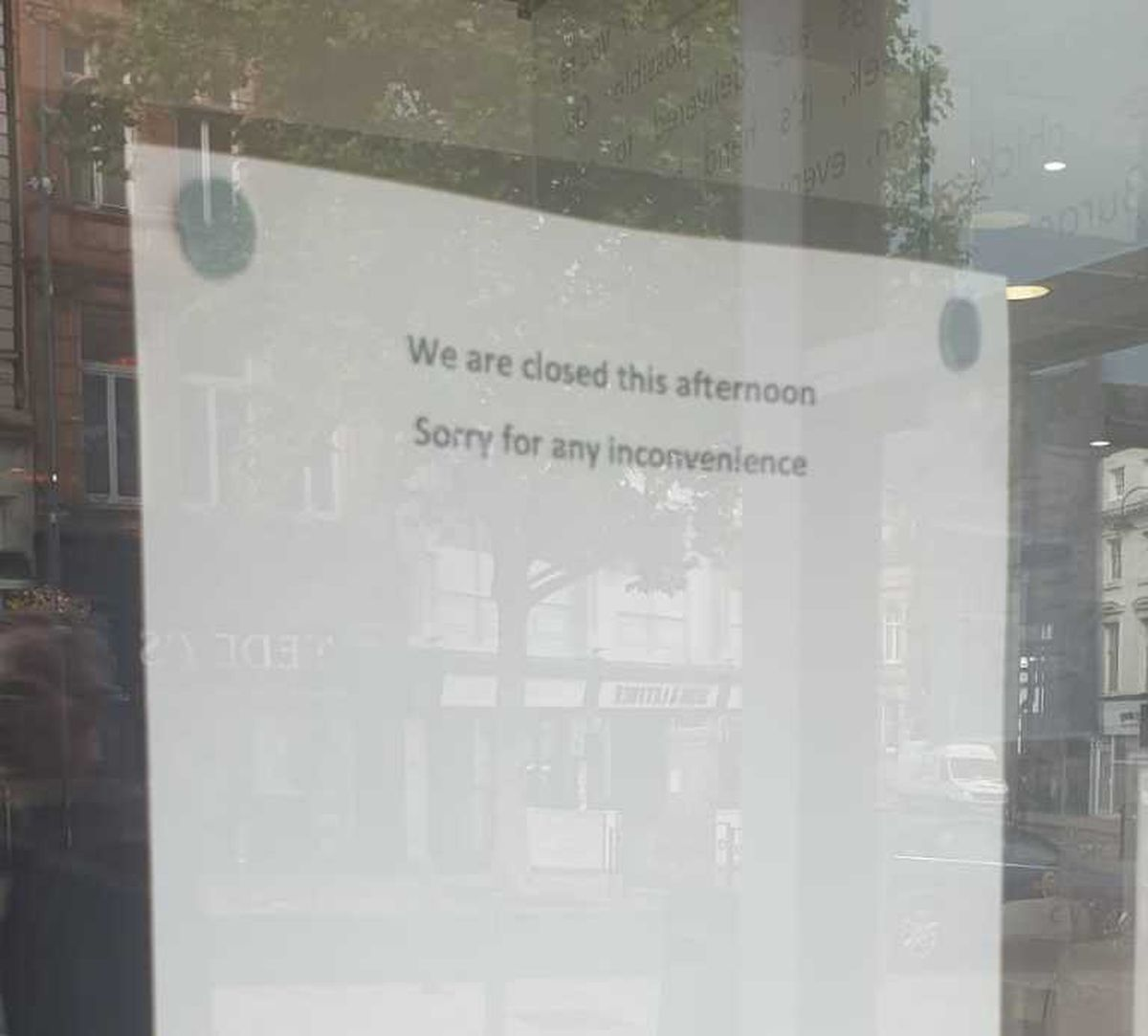 A notice telling customers that KFC was closed for the afternoon