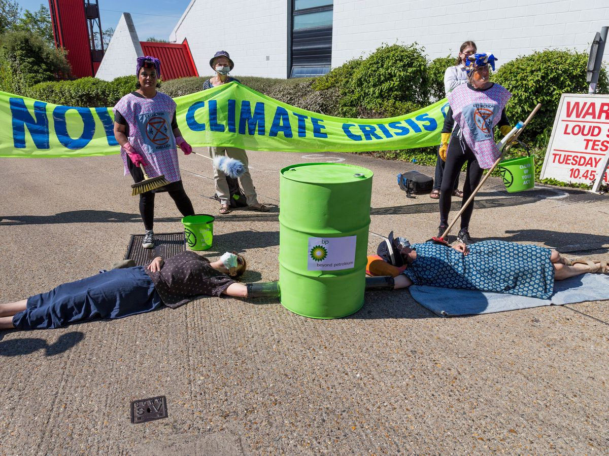 Activists locking down BP's Southampton oil terminal