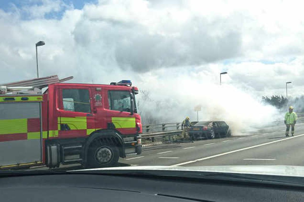 Car catches fire on M6 shutting two lanes