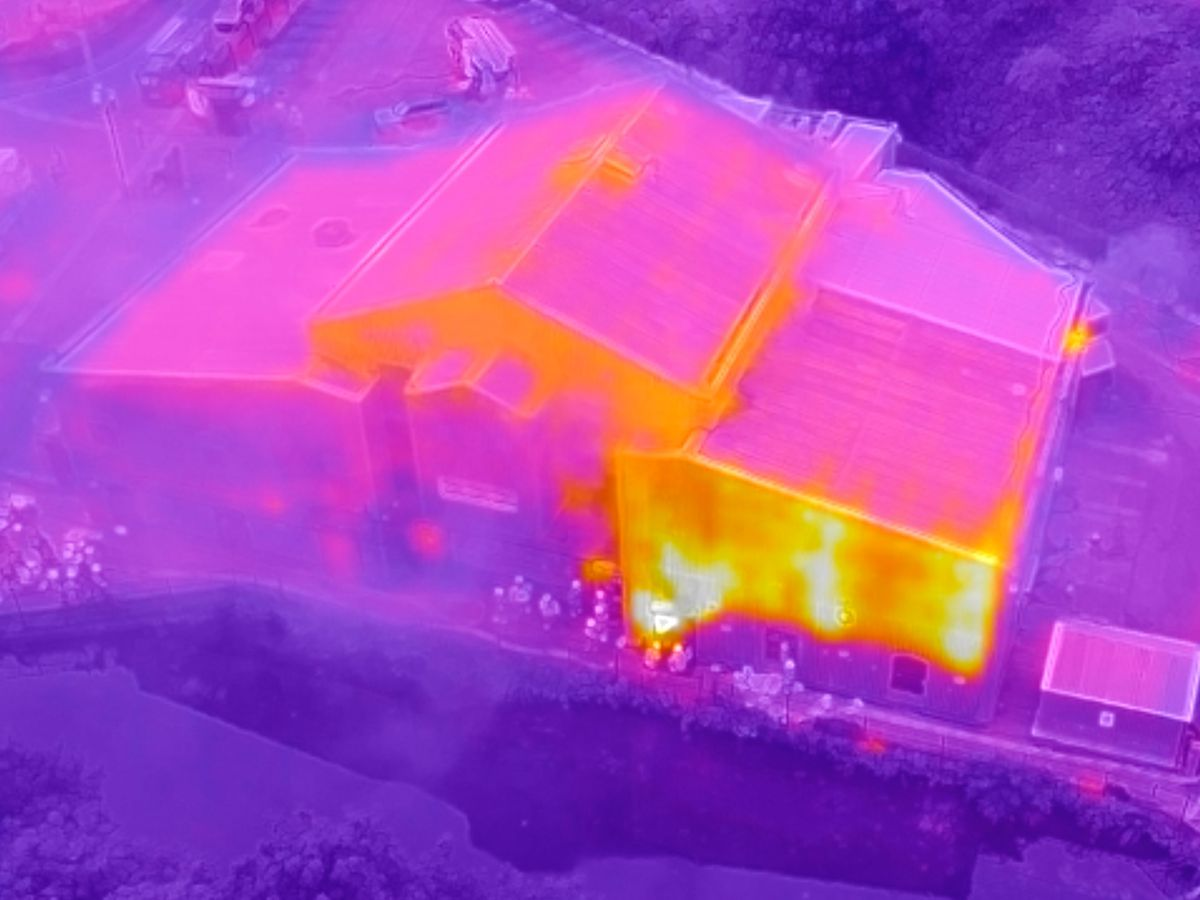 A fire service drone shows hot spots in the fire on Sunday. Photo: West Midlands Fire Service