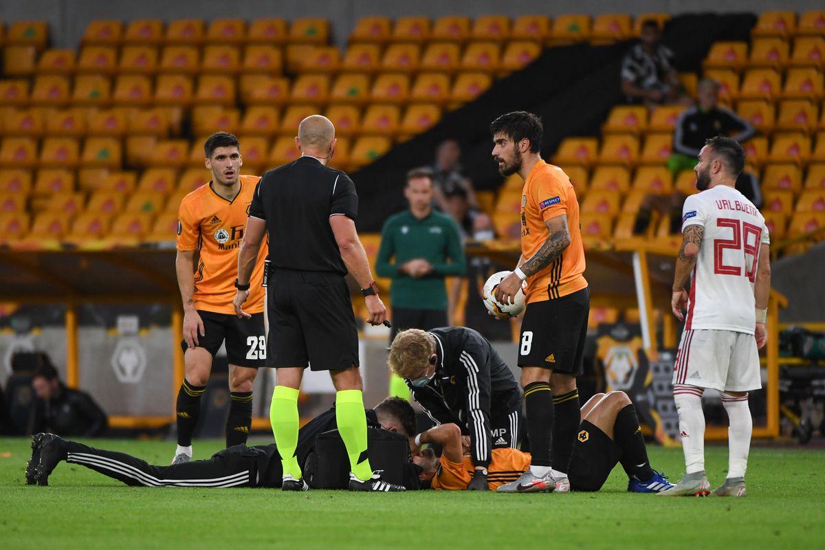 Joao Moutinho of Wolverhampton Wanderers receives treatment after a head injury (AMA)